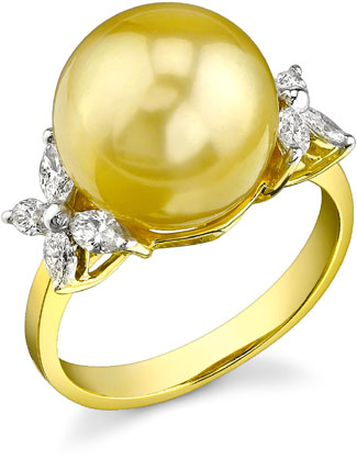 Golden Pearl & Diamond Floral Ring (Rings, Apples of Gold)