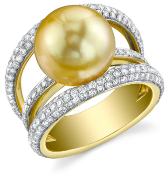 Golden Pearl & Diamond Eternity Ring