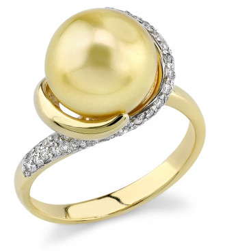 Golden Pearl & Diamond Circle Ring (Rings, Apples of Gold)