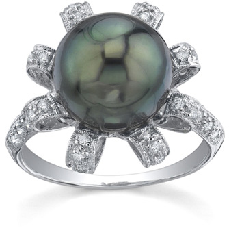 Tahitian Pearl & Diamond Blossom Ring