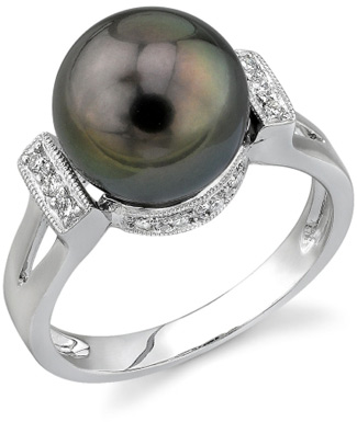 Tahitian Pearl & Diamond Nicole Ring