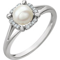 Freshwater Cultured Pearl and Diamond Ring