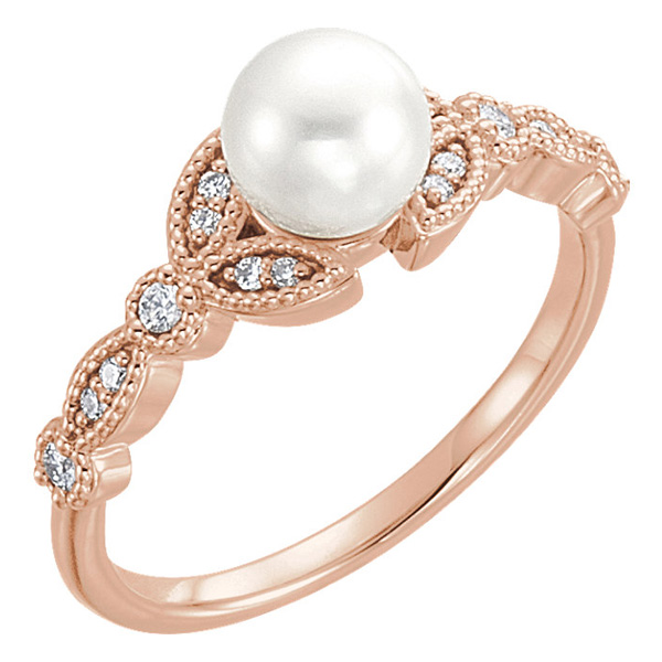 14K Rose Gold Cultured Freshwater Pearl Diamond Leaf Ring