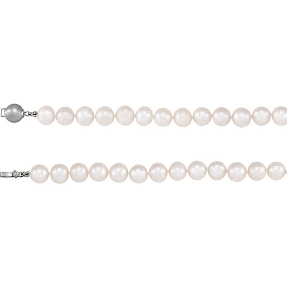 Single Strand Freshwater Pearl Bracelet in Silver