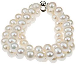 Triple-Strand Freshwater Culutred Pearl Bracelet in Silver