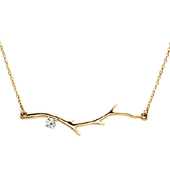 1 Stone 14K Yellow Gold Birthstone Branch Necklace