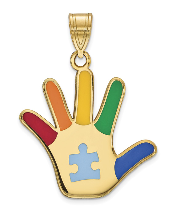 14K Gold Enameled Autism Awareness Hand Necklace with Puzzle Piece