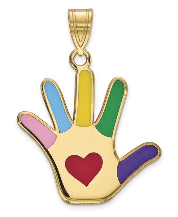 14K Gold Enameled Autism Awareness Pendant with Heart