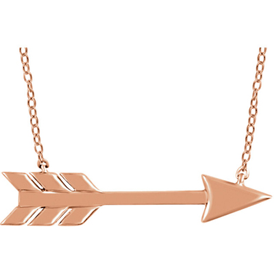 14K Rose Gold Arrow Necklace