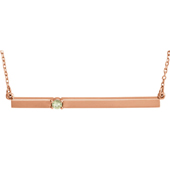 14K Rose Gold Birthstone Bar Necklace