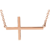 14K Rose Gold Cross Bar Necklace