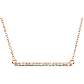 1 Inch 14K Rose Gold Diamond Bar Necklace