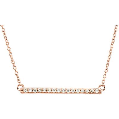 1 Inch 14K Rose Gold Diamond Bar Necklace