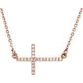 14K Rose Gold Diamond Cross Bar Necklace