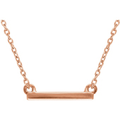 14K Rose Gold Petite Bar Necklace
