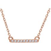 14K Rose Gold and Diamond Petite Bar Necklace