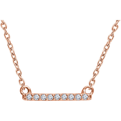 14K Rose Gold and Diamond Petite Bar Necklace