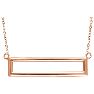 14K Rose Gold Rectangle Necklace