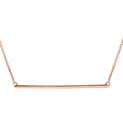 14K Rose Gold Straight Bar Necklace