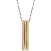 14K Tri-Color Gold Bar Necklace