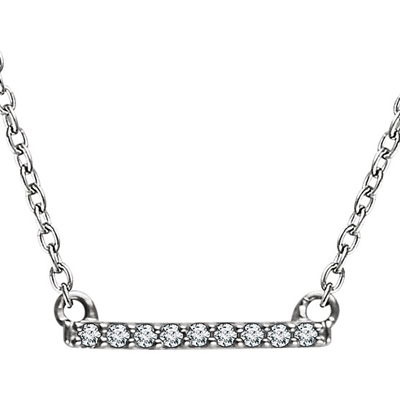 14K White Gold and Diamond Petite Bar Necklace