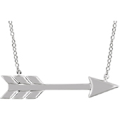 14K White Gold Arrow Necklace