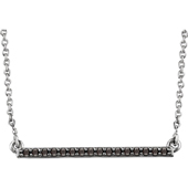 14K White Gold Black Diamond Bar Necklace