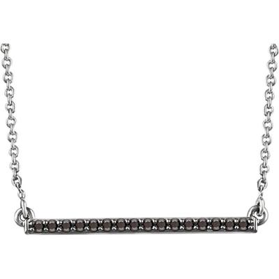 14K White Gold Black Diamond Bar Necklace