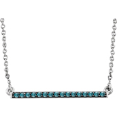 14K White Gold Blue Diamond Bar Necklace