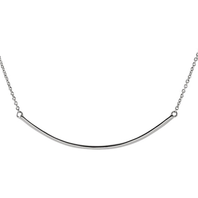 14K White Gold Curved Bar Necklace