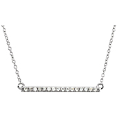 1 Inch 14K White Gold Diamond Bar Necklace