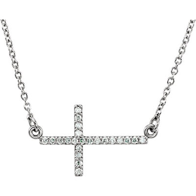 14K White Gold Diamond Cross Bar Necklace