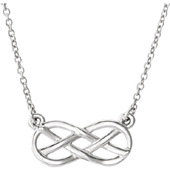 14K White Gold Infinity Knot Necklace