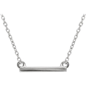 14K White Gold Petite Bar Necklace