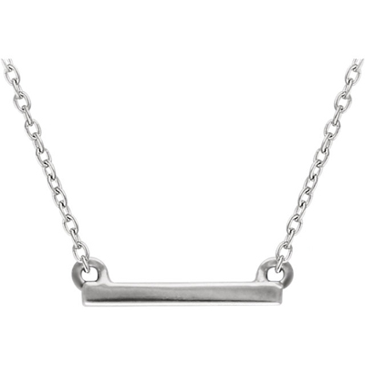 14K White Gold Petite Bar Necklace