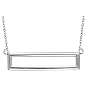 14K White Gold Rectangle Necklace