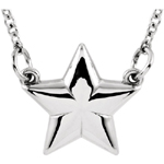 14K White Gold Star Necklace