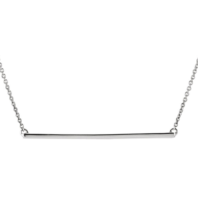 14K White Gold Straight Bar Necklace