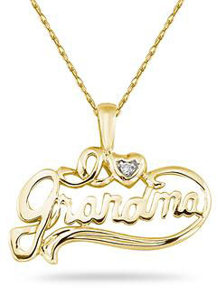 14K Yellow Gold and Diamond Grandma Pendant