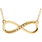 14K Yellow Gold and Diamond Infinity Necklace