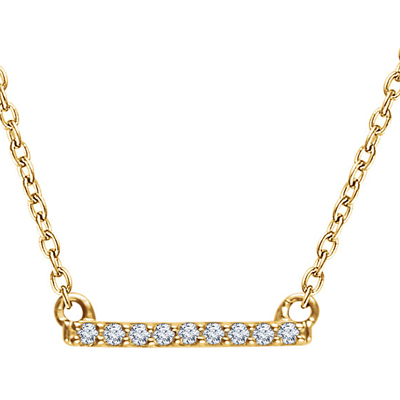 14K Yellow Gold and Diamond Petite Bar Necklace