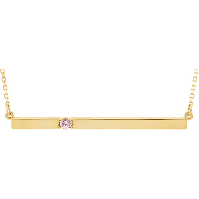 14K Yellow Gold Birthstone Bar Necklace