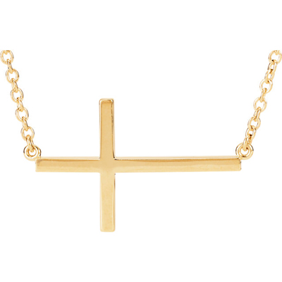 14K Yellow Gold Cross Bar Necklace