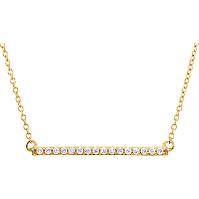 1 Inch 14K Yellow Gold Diamond Bar Necklace
