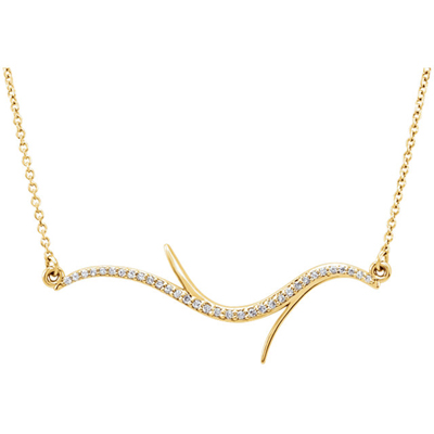 14K Yellow Gold Diamond Branch Necklace
