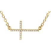 14K Yellow Gold Diamond Cross Bar Necklace