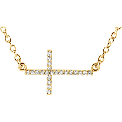 14K Yellow Gold Diamond Cross Bar Necklace