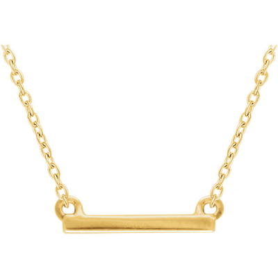 14K Yellow Gold Petite Bar Necklace