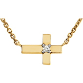 14K Yellow Gold Petite Cross Necklace with Diamond Accent