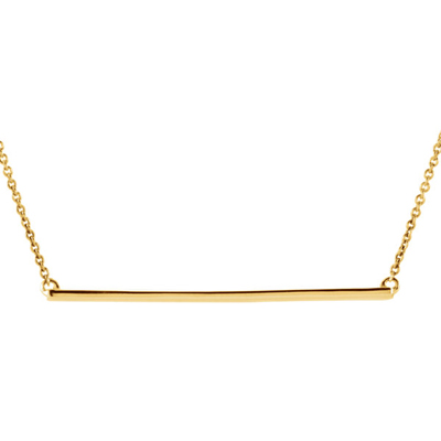 14K Yellow Gold Straight Bar Necklace